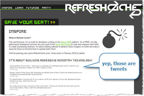 @RefreshCache tweets as seen on www.refreshcache.com (powered by Arena ChMS)