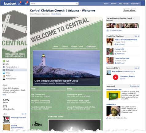 CentralAZ Welcome Page on Facebook